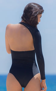 Black monokini from spring madness collection back view