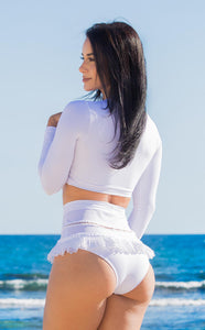 White bikini long sleeves by Salitre Swimwear profile.