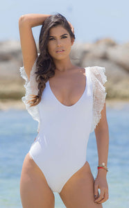 White swimsuit monokini Take a break by Salitre Swimwear