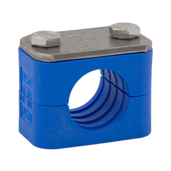 "3/8"" Tube Blue Clamp No Weld Plate 304 Stainless Steel Hardware"