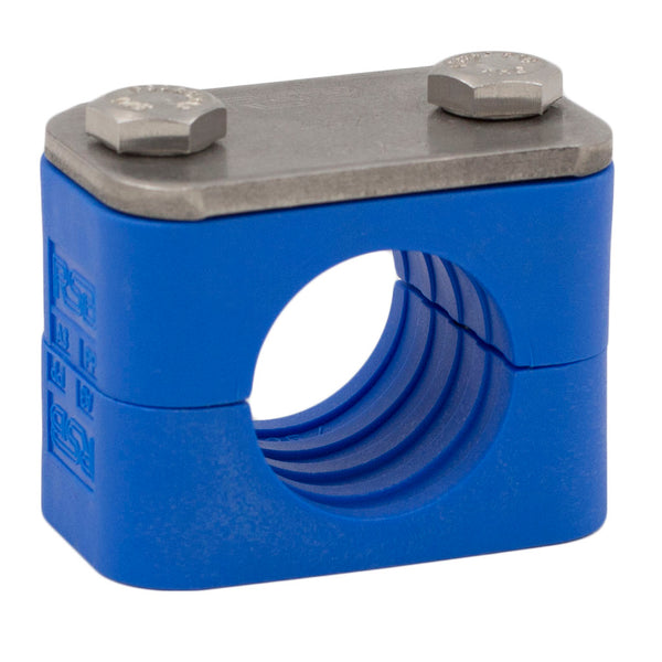 "3/8"" Tube Blue Clamp No Weld Plate 316 Stainless Steel Hardware"