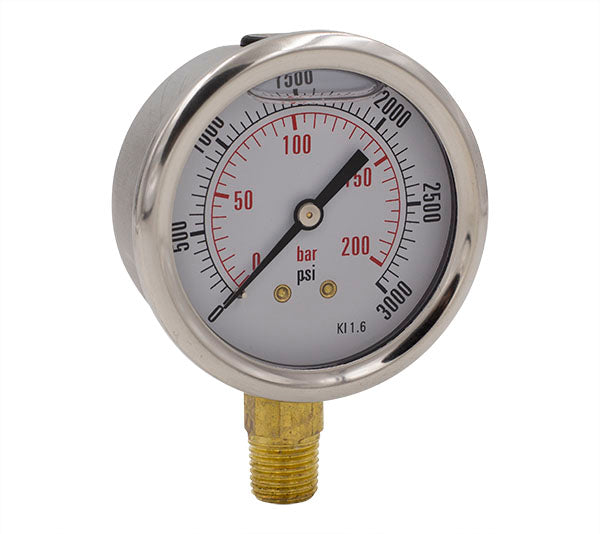 -30HG to 0PSI Glycerin Filled Pressure Gauge