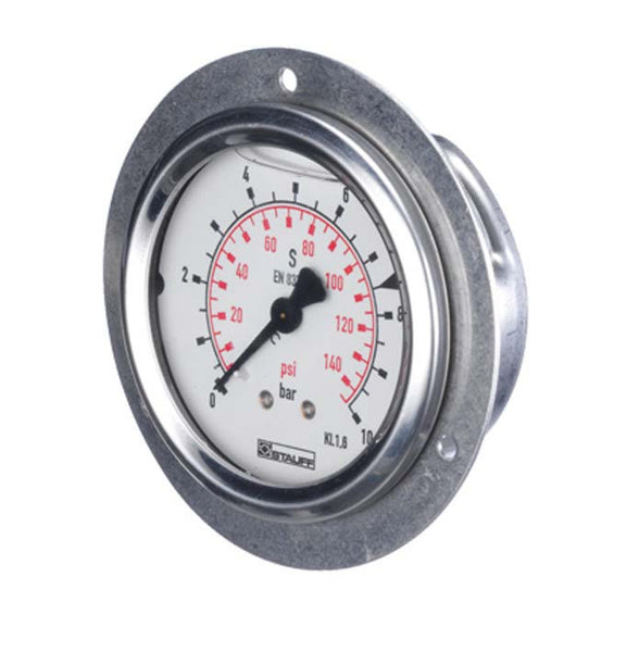 "Stauff -30"" Hg-0 PSI Panel Mount Pressure Gauge"