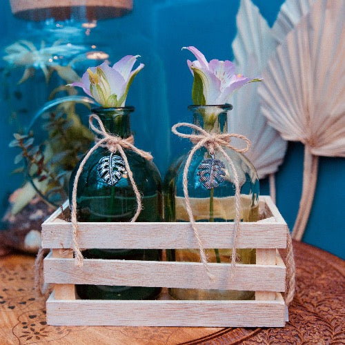 Set de vase en verre transparent