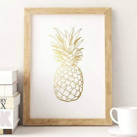 Affiche ananas doré or pineapple poster lovely decor