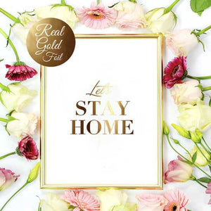 Affiche lets let's stay home poster or dore