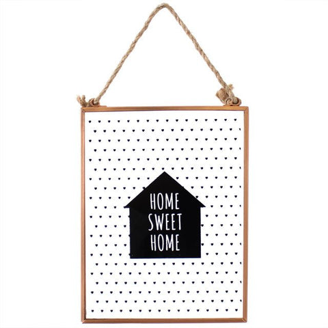 Cadre home sweet home verre metal cuivre tableau deco