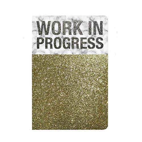 Carnet Work in progress paillettes marbre dore or