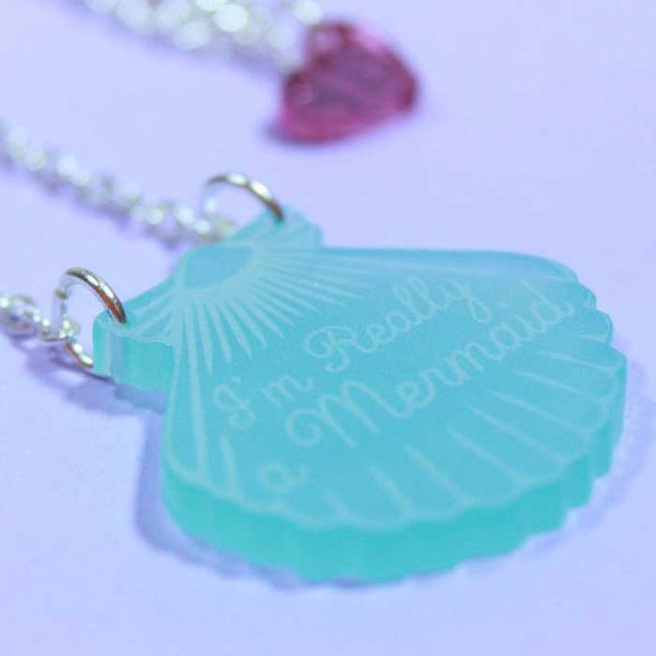 Collier mermaid shell love crafty aqua turquoise