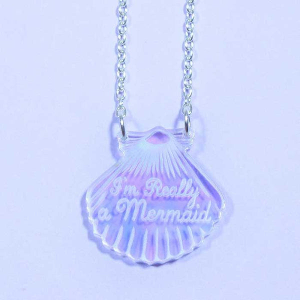 Collier sirene coquillage iridescent love crafty