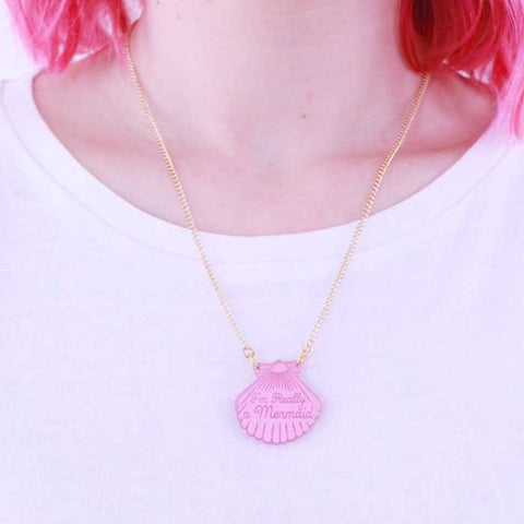 Collier sirene coquillage rose pink love crafty