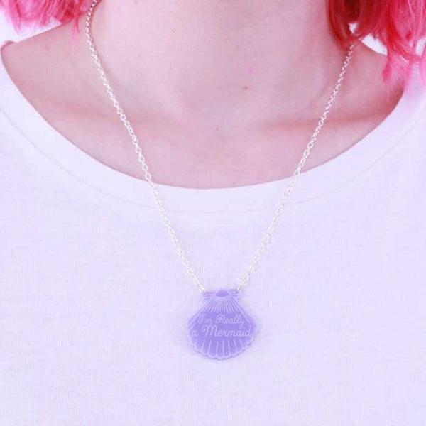 Collier sirene coquillage violet purple love crafty