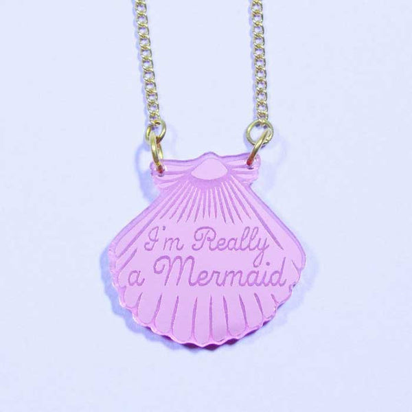 Collier mermaid shell love crafty rose miroir