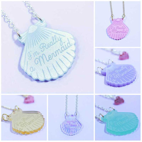 Collier sirene coquillage pendentif I'm really mermaid