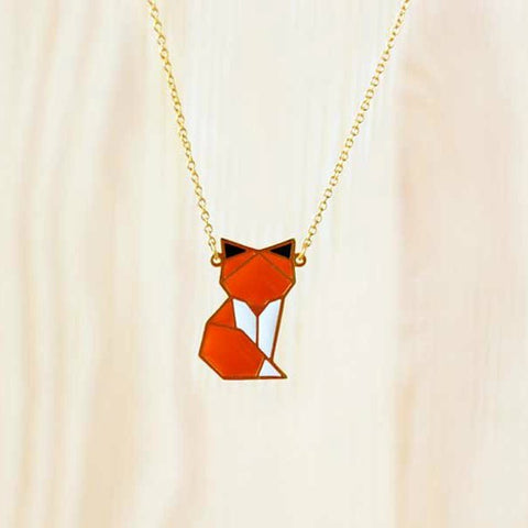 Collier renard fox origami hug porcupine necklace