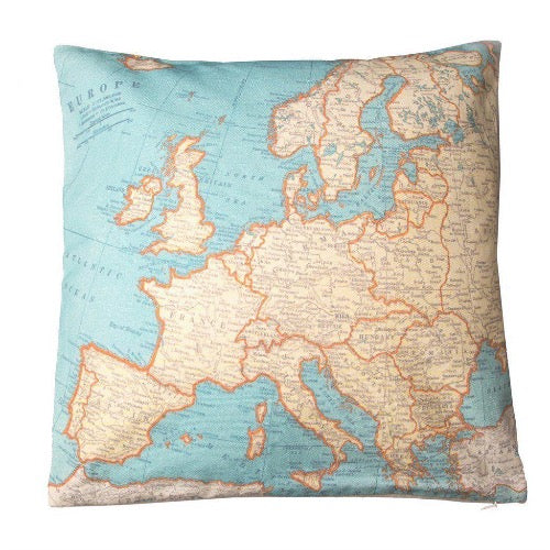 Coussin carte europe map voyage cushion