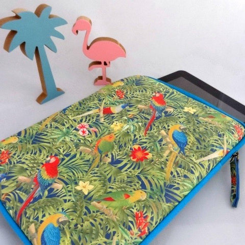 housse tropicale etui tablette pc perroquet
