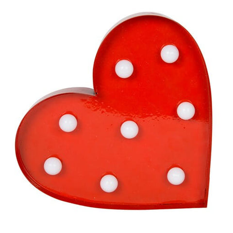 Coeur lampe led rouge metal retro vintage