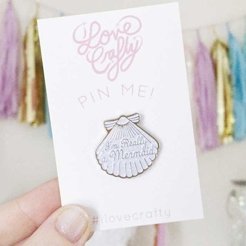 Pin's pins sirene i love crafty coquillage paillete
