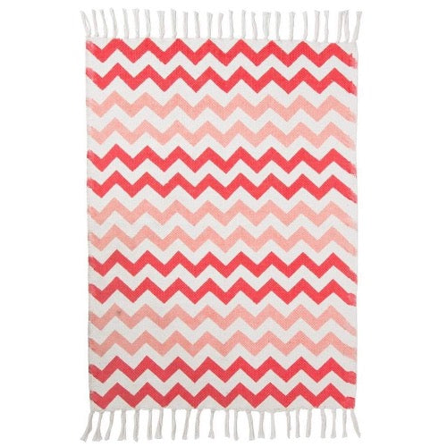 Tapis chevron geometrique rose degrade frange