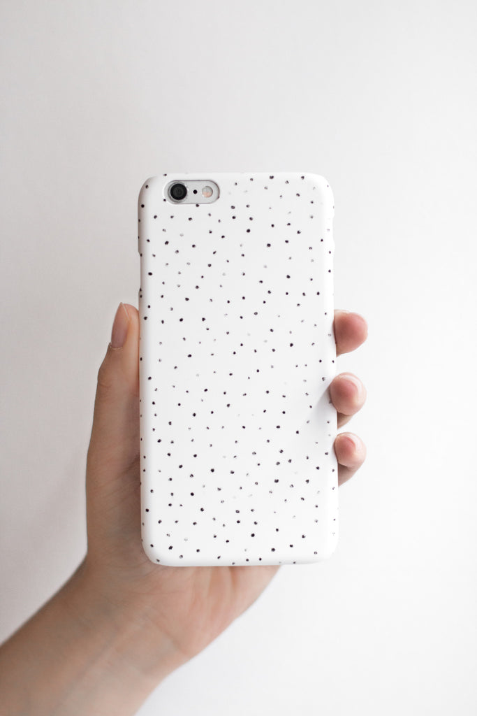white Phone Case with dots, Handyhülle mit Punkten