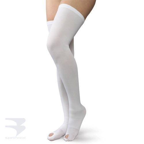 Anti-Embolism Stockings - Thigh High / Open Toe - 18mm Hg Compression -  by Advanced Orthopaedics - Superior Braces - SuperiorBraces.com