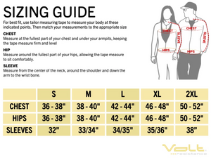 Sizing guide to make sure the Volt Heated garments fits perfect