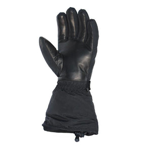 Heated ski glove with a leather palm