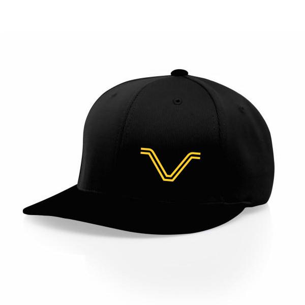 "Hats - All Black Hat With Yellow ""V"" Logo"