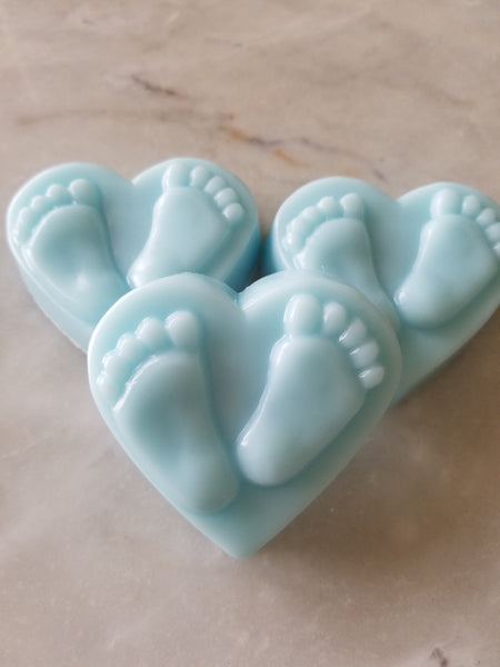 Baby Shower Heart Foot Print Soap Favors Set of 12 - The Lovely Gift Co