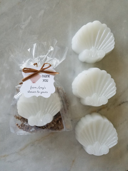 Clam Shell Soap Beach Nautical Wedding Shower Favors Set of 12 - The Lovely Gift Co