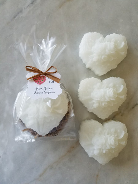 Rose Heart Soap Party Favors for Bridal Showers Weddings Set of 12 - The Lovely Gift Co