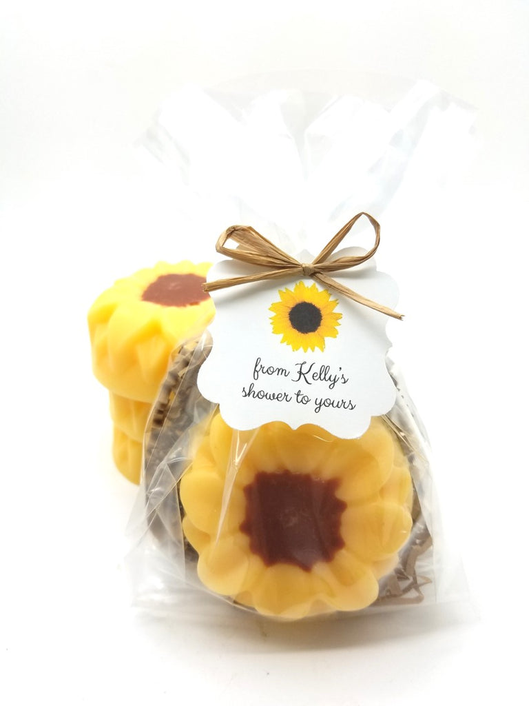 Sunflower Soap Bridal Shower Favors with Custom Tags, Set of 12 - The Lovely Gift Co