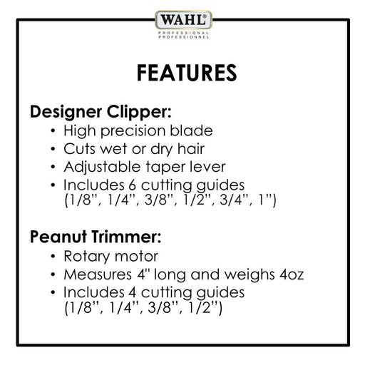 WAHL Burgundy Designer Clipper and Classic White Peanut Trimmer Professional All Star Combo (980g)