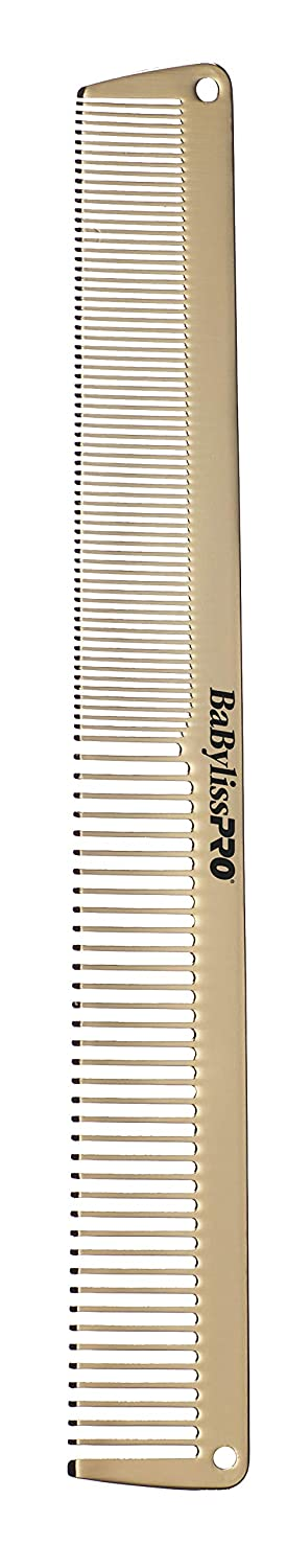 "Babyliss Pro Metal comb duo includes a 7-1/2"" cutting comb and a 9"" clipper comb. Gold."
