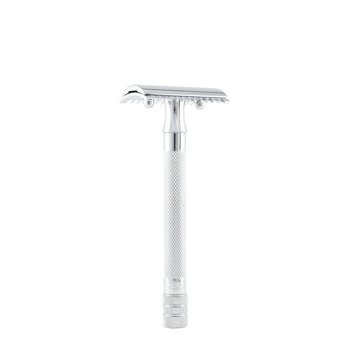 Merkur Double Edge Safety Razor, Open Tooth Comb, Extra Long Handle, Chrome