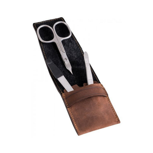 DOVO 3-Piece Manicure Set in Brown Leather Case - 1058 056