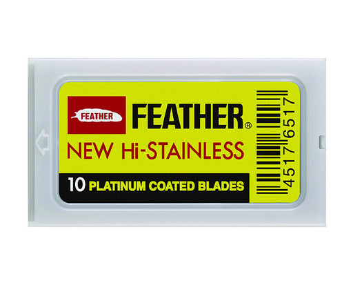 Feather Hi Stainless Double Edge Razor Blades, (1 Pack / 10 Blades)