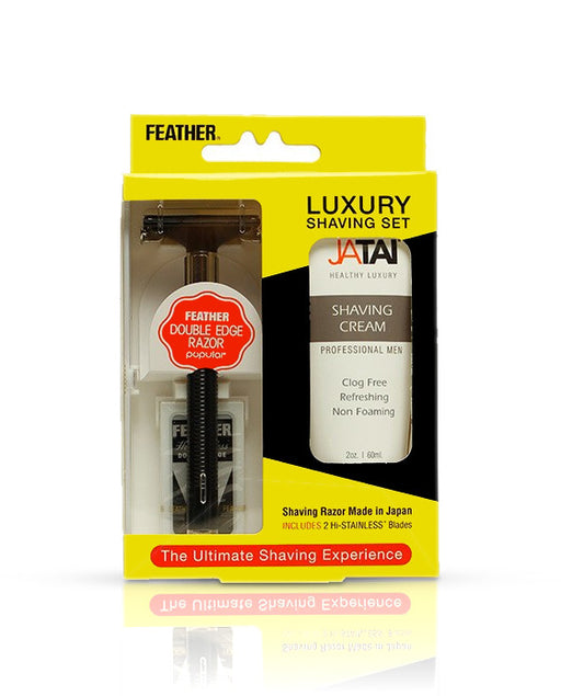 Feather Luxury Shaving Set (w/ Shaving Cream)