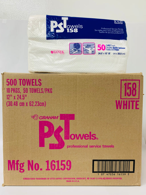 "PST 158 Professional Towels, 2-Ply, Huck Finish, 12"" x 24.5"", (Case of 10 Boxes)"