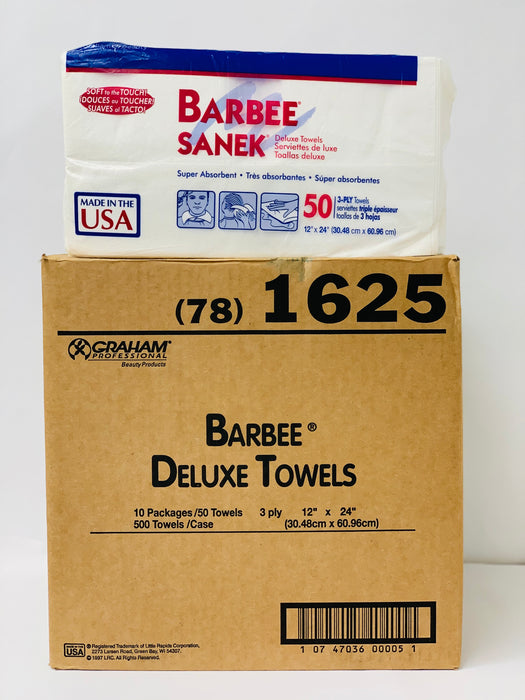 "BARBEE Deluxe Towels, 3-Ply, 12"" x 24"", (Case of 10 Boxes)"