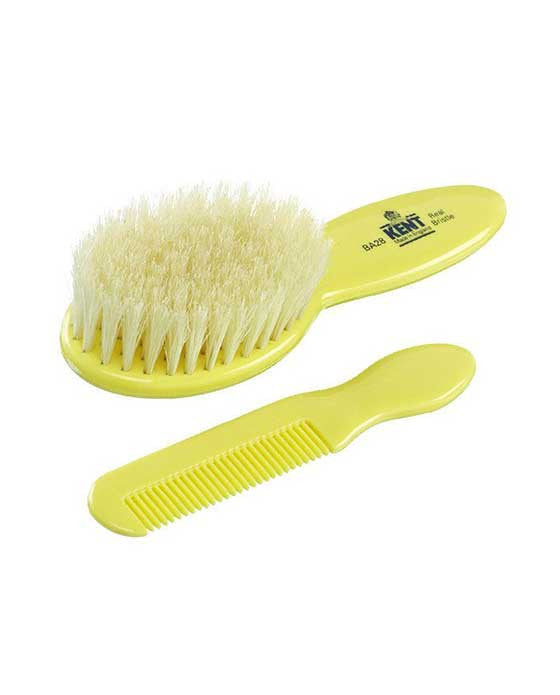 Kent K-BA28 Baby Brush & Comb Set, Supersoft White Bristles