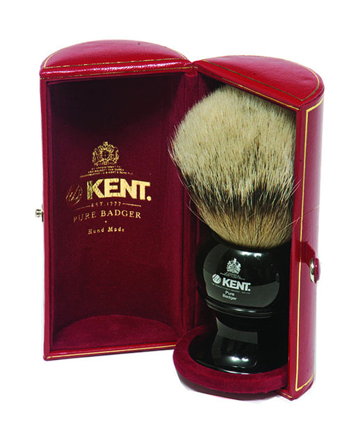 Kent Shaving Brush, Pure Silver Tip Badger, King Size, Black