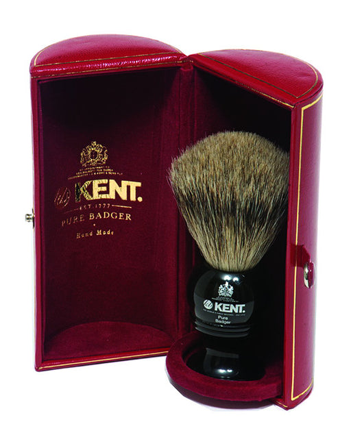 Kent Shaving Brush, Pure Grey Badger, Medium, Black