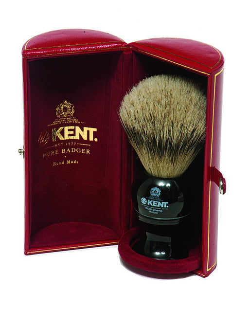 (DISCONTINUED) Kent Shaving Brush, Pure Silver Tip Badger, Large, Black