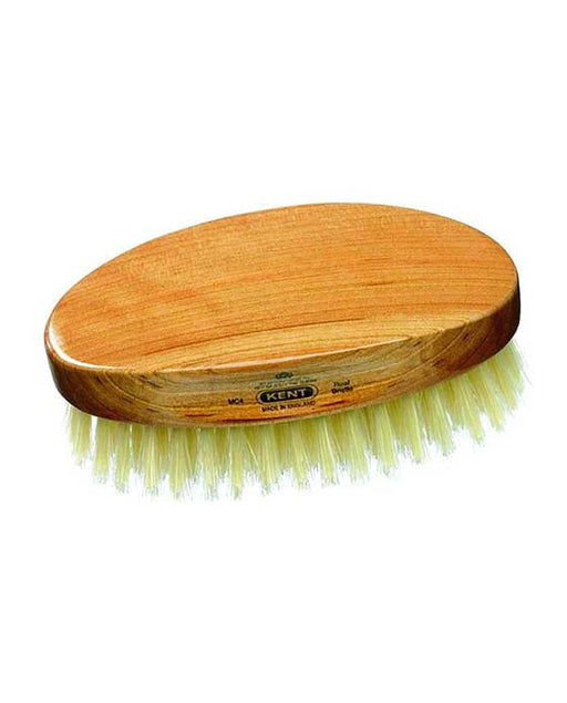 Kent Military Brush, Oval, Cherrywood, Travel Size, Pure White Bristle Hairbrush