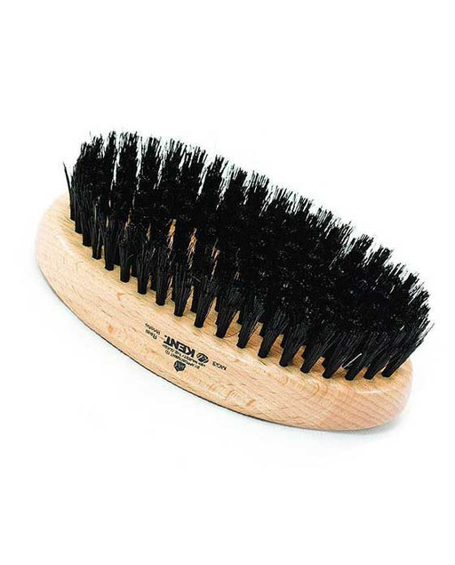 Kent Military Brush, Oval, Beechwood, Natural Shine Black Bristle Hairbrush
