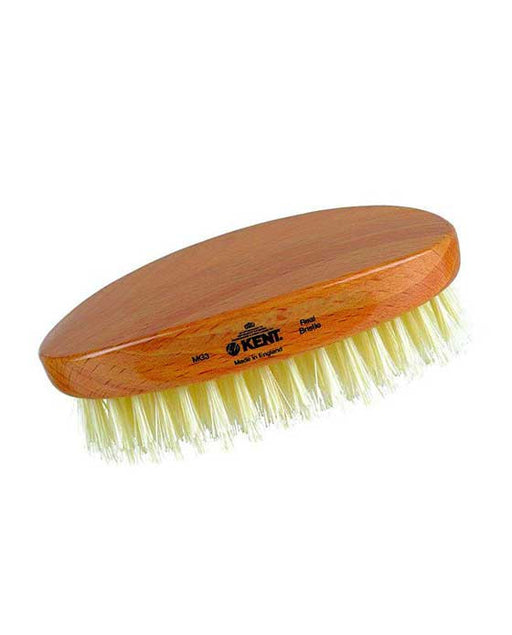 Kent Military Brush, Oval, Beechwood, Pure White Bristle Hairbrush