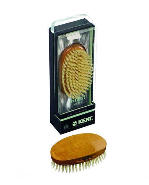 Kent Military Brush, Oval, White Bristles, Satinwood,