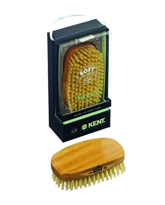 Kent Military Brush, Rectangular, White Soft Bristles, Satinwood & Beechwood,
